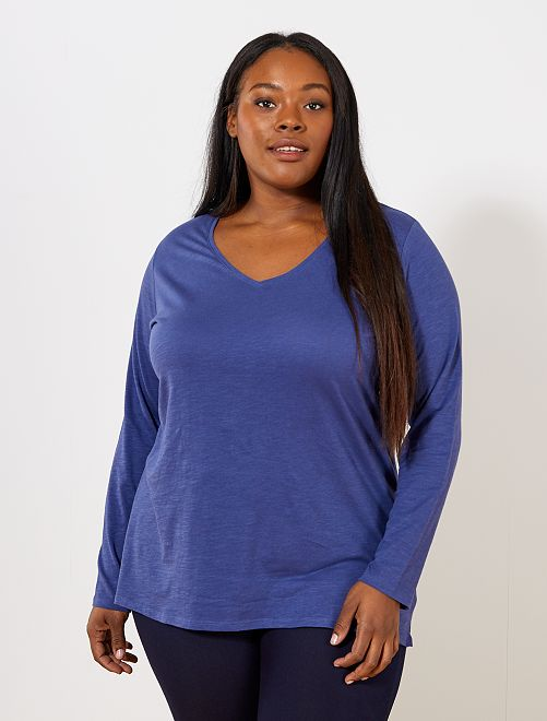 Camiseta con cuello de pico y manga larga de punto flameado                                                                                                         azul cobalto