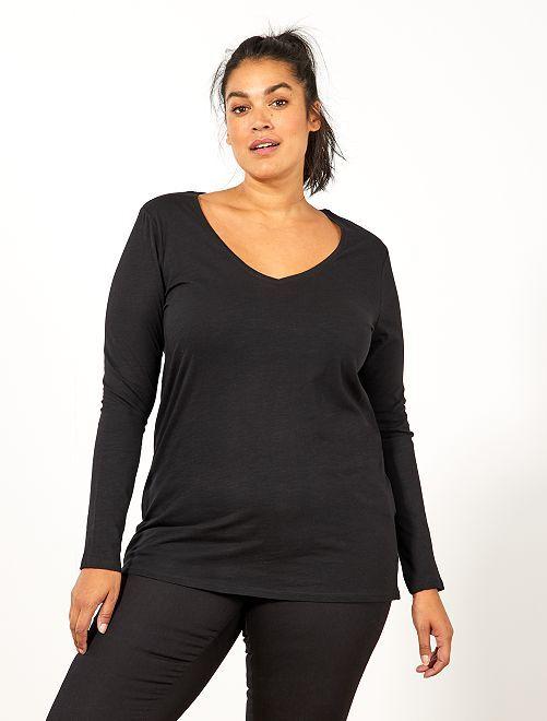 Camiseta con cuello de pico y manga larga de punto flameado                                                                 negro
