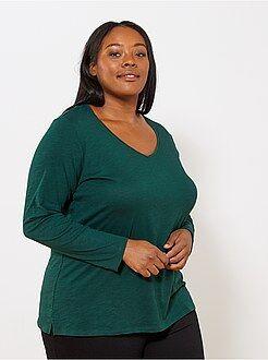 Tallas grandes mujer Camiseta con cuello de pico y manga larga de punto flameado
