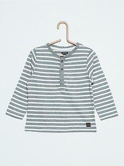 Niño 0-36 meses Camiseta con cuello panadero a rayas