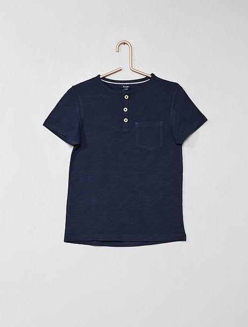 Camiseta con cuello panadero                                 azul