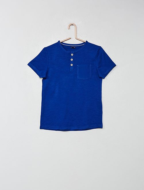 Camiseta con cuello panadero                                                                                                     azul Chico