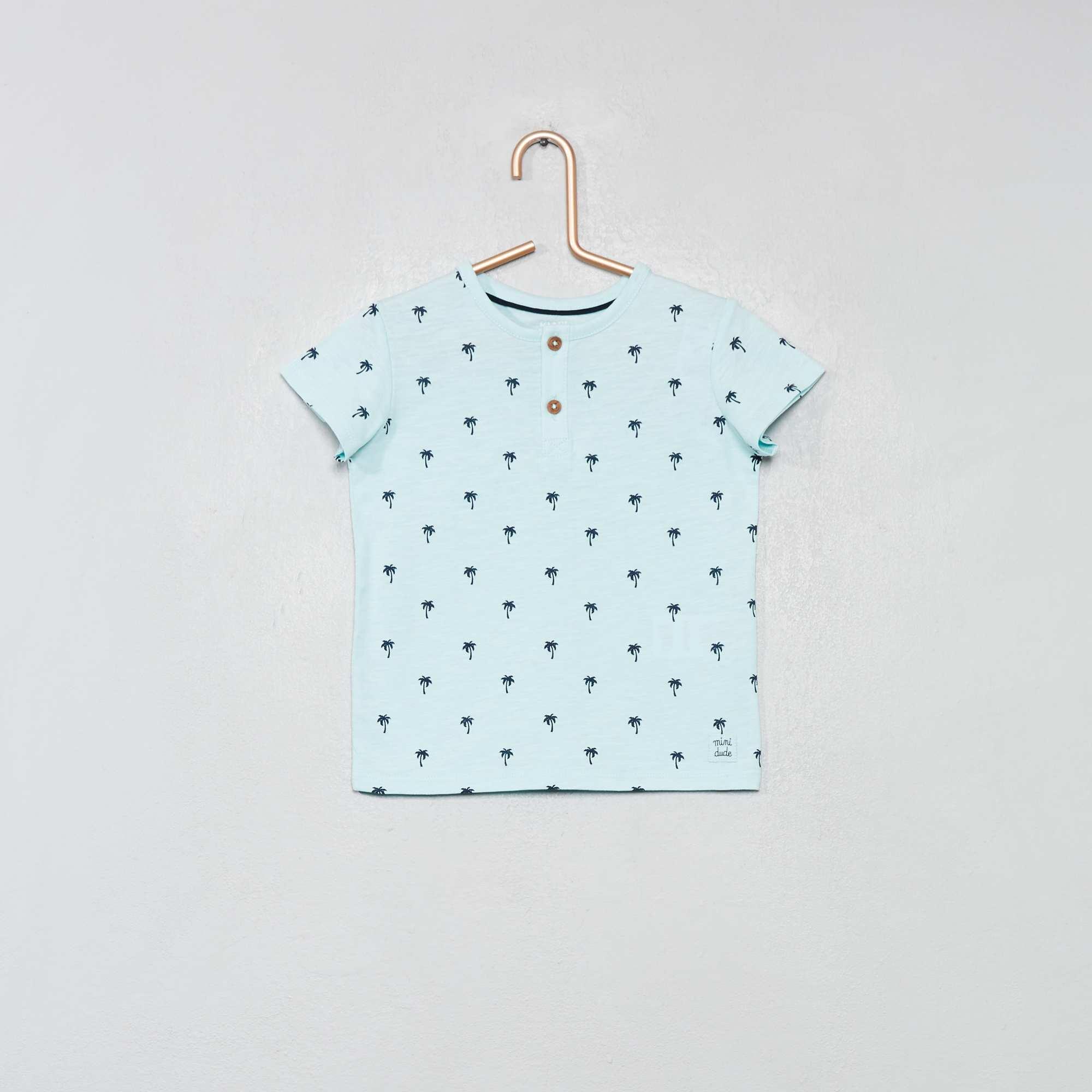 e6c9b8694 Camiseta con cuello panadero de algodón orgánico AZUL Bebé niño. Loading  zoom