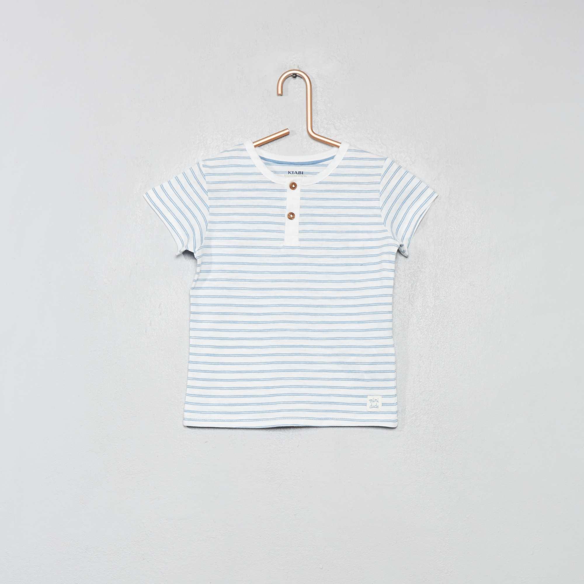 e77cb4086 Camiseta con cuello panadero de algodón orgánico BLANCO Bebé niño. Loading  zoom