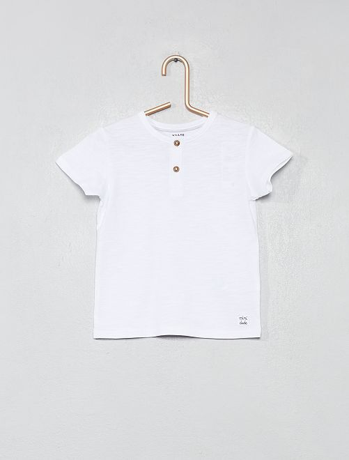 Camiseta con cuello panadero de algodón orgánico                                                                                                                 blanco Bebé niño