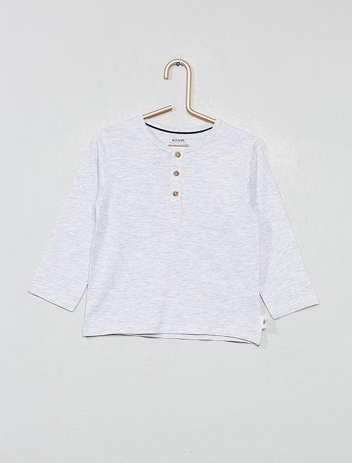 Camiseta con cuello panadero de algodón orgánico                                         GRIS