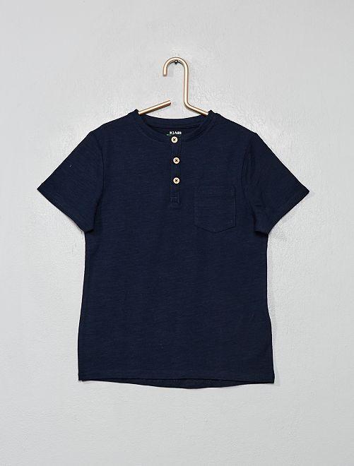 Camiseta con cuello panadero eco-concepción                                 azul