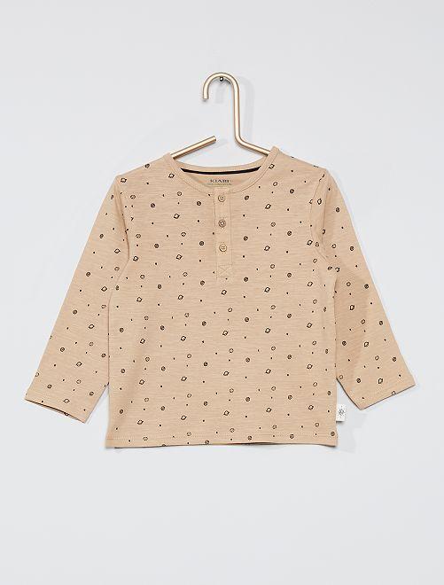 Camiseta con cuello panadero eco-concepción                                                                             BEIGE