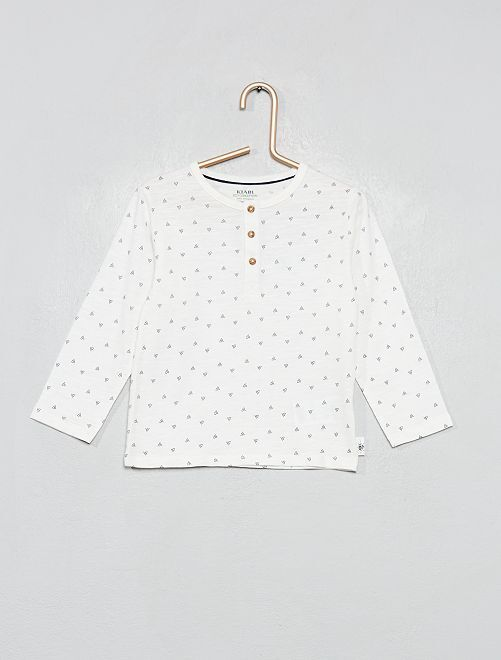 Camiseta con cuello panadero 'eco-concepción'                                                                                                                 BLANCO