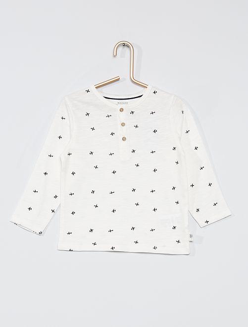 Camiseta con cuello panadero eco-concepción                                                                             BLANCO