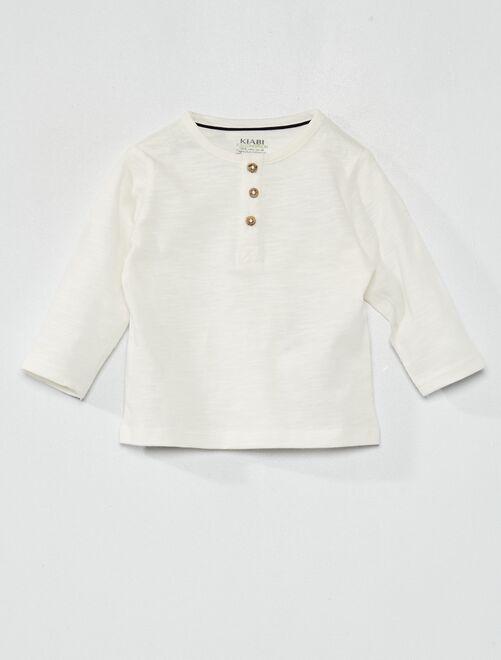 Camiseta con cuello panadero eco-concepción                                                     blanco nieve