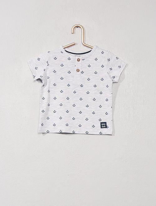 Camiseta con cuello panadero 'eco-concepción'                                                                                                     GRIS