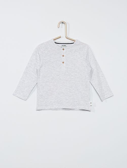 Camiseta con cuello panadero eco-concepción                                                     GRIS