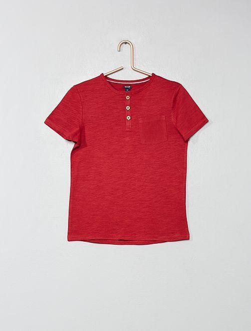 Camiseta con cuello panadero                                                                                         rojo oscuro Chico