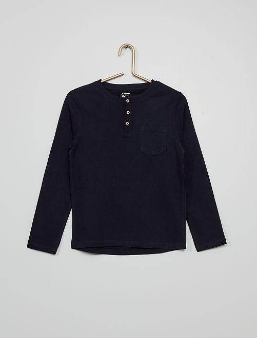 Camiseta con cuello panadero y bolsillo                                                                             azul