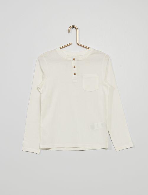 Camiseta con cuello panadero y bolsillo                                                                             blanco nieve
