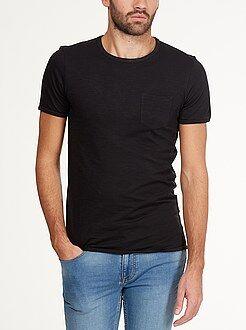Hombre Camiseta con cuello redondo y bolsillo en el pecho
