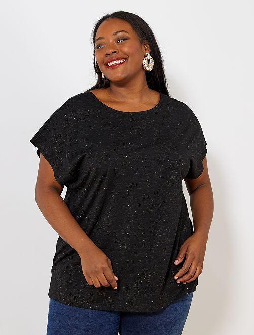 Camiseta con cuello reversible                                                     negro
