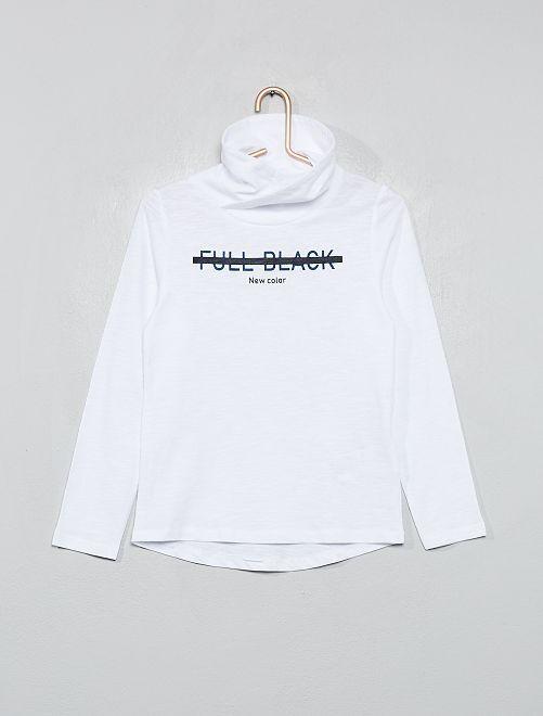 Camiseta con cuello tubo cruzado                                                                 BLANCO