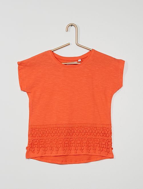Camiseta con detalle de macramé                                         naranja