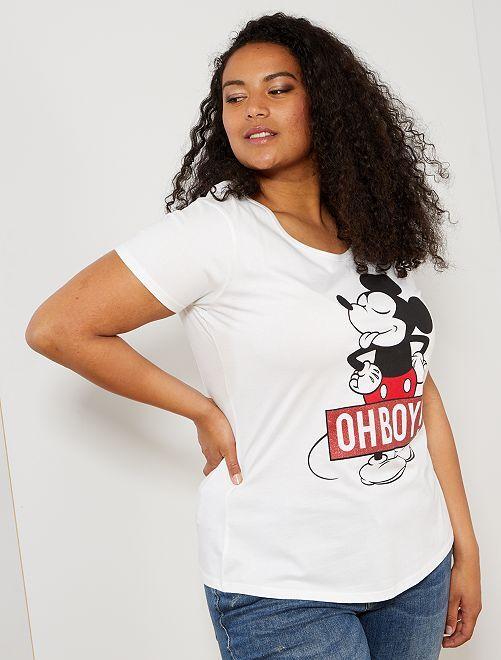 Camiseta con detalle de 'Mickey'                             blanco Tallas grandes mujer
