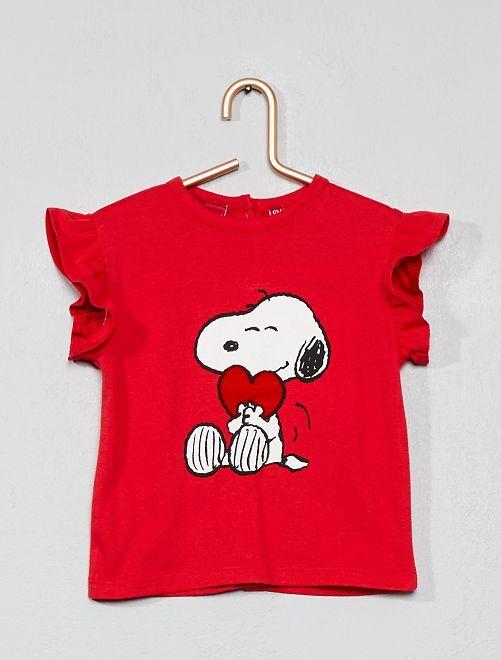 Camiseta con detalle 'Snoopy'                             rojo Bebé niña