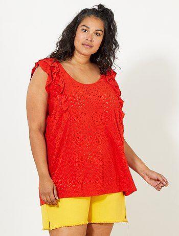 Camiseta con efecto bordado inglés - Kiabi