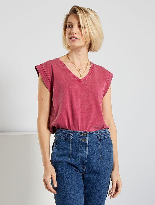 Camiseta con efecto envejecido eco-concepción                                         rojo