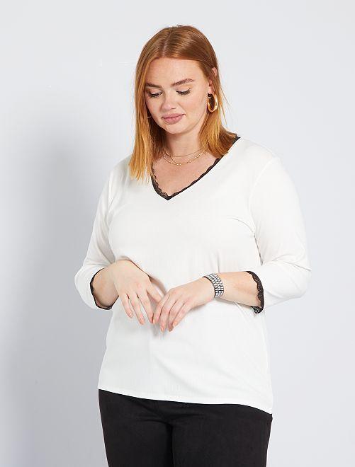 Camiseta con encaje                                         blanco nieve