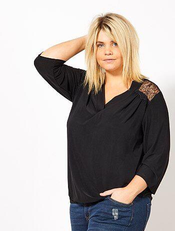 Camiseta con escote de pico y espalda de encaje - Kiabi