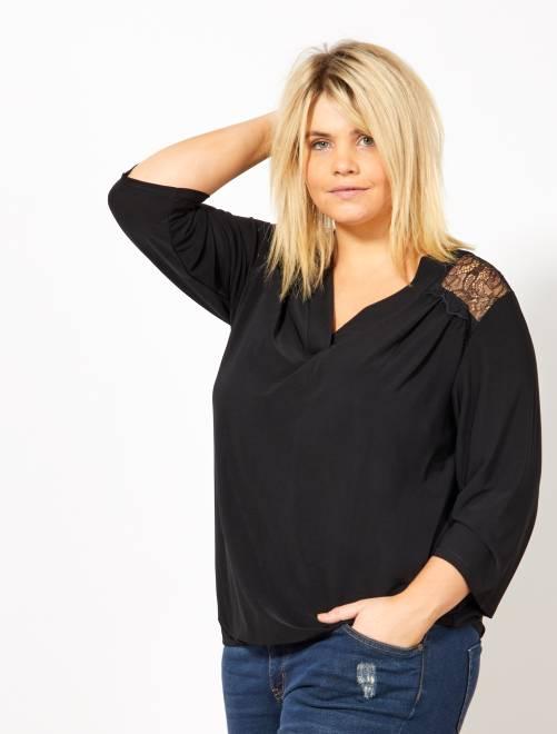Camiseta con escote de pico y espalda de encaje                             negro