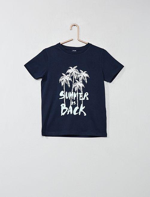 Camiseta con estampado                             AZUL Chico