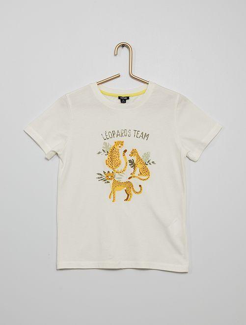 Camiseta con estampado de 'animales' con relieve                                                     BLANCO