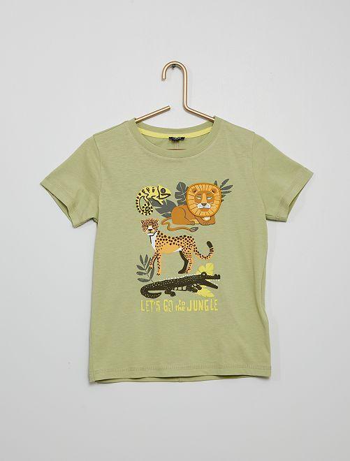 Camiseta con estampado de 'animales' con relieve                                                                 VERDE