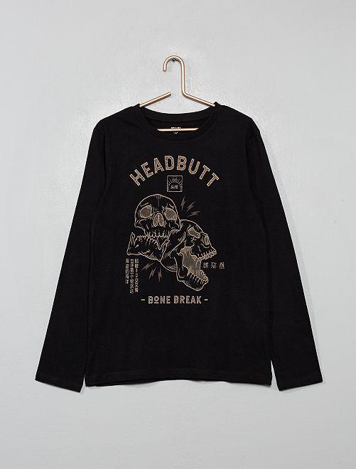 Camiseta con estampado de 'calavera'                                                                                                                             NEGRO