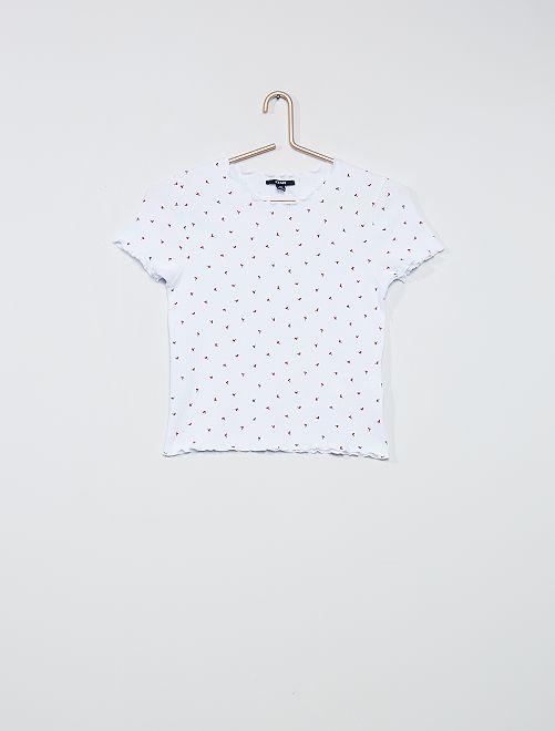 Camiseta con estampado de cerezas                             BLANCO