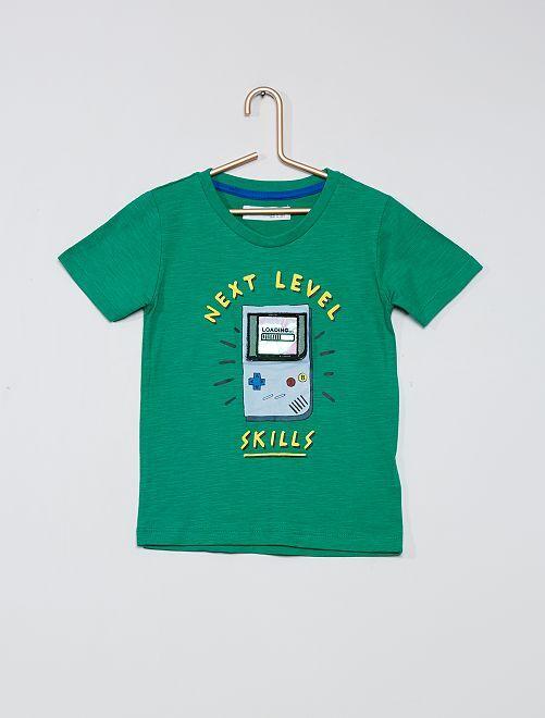 Camiseta con estampado de consola                             verde