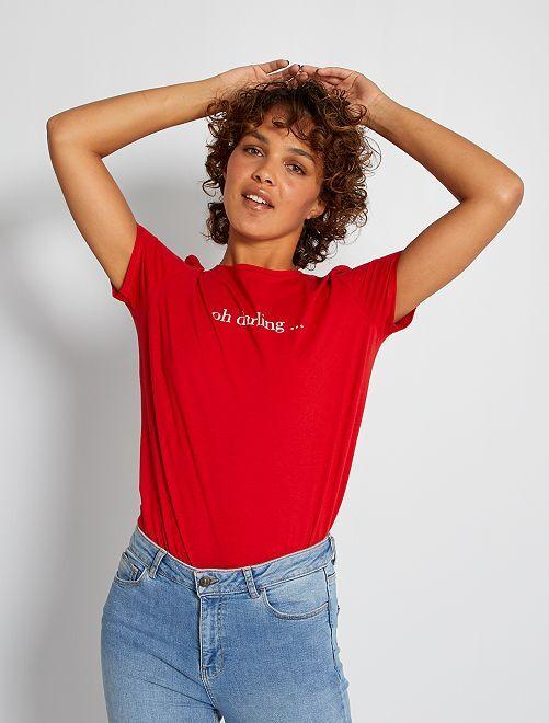 Camiseta con estampado de 'corazones'                                                                                                                                                                                                                                                                             ROJO