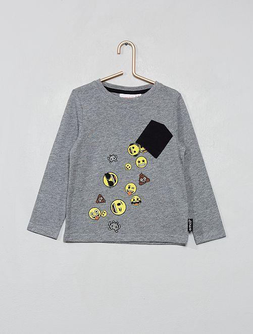 Camiseta con estampado de 'emoji'                             GRIS