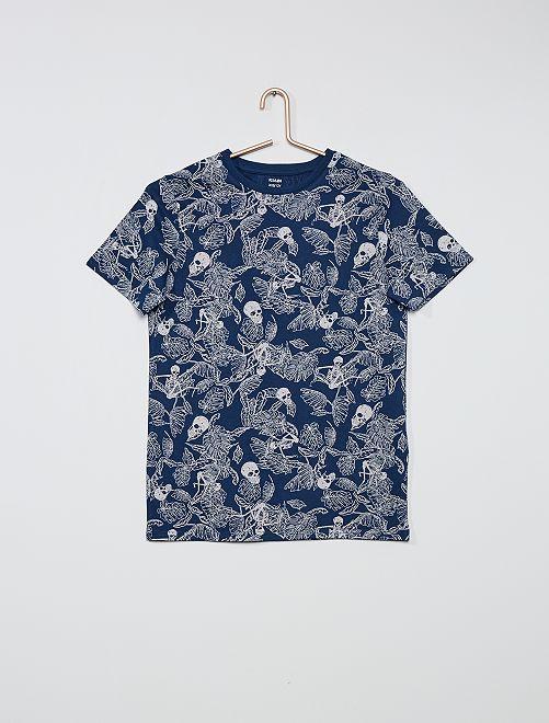 Camiseta estampada con 'mensaje'                                 AZUL