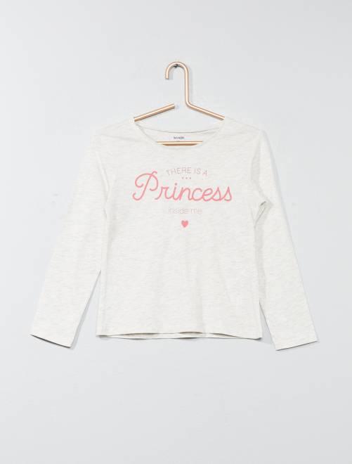 Camiseta con estampado de fantasía                     BEIGE Chica