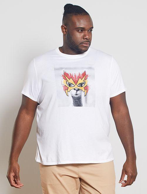 Camiseta con estampado de fantasía                                         BLANCO