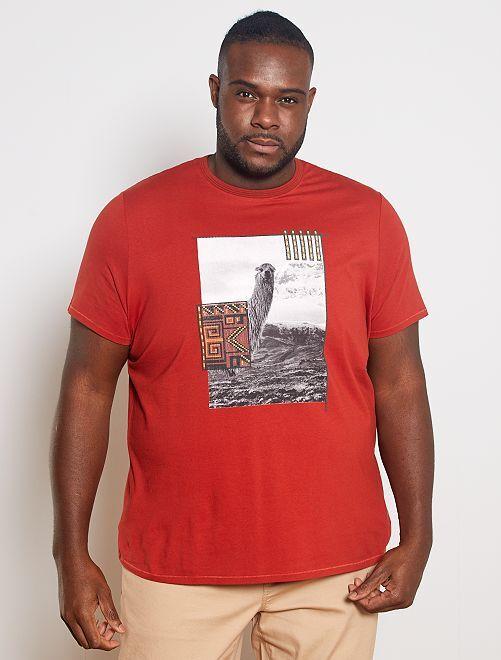 Camiseta con estampado de fantasía                                         NARANJA