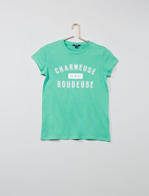 Camiseta con estampado de fantasía                                                                 VERDE Joven niña