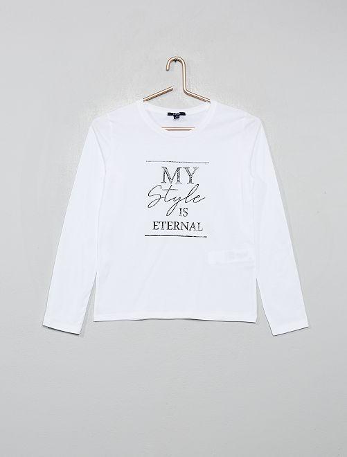 Camiseta con estampado de foto                                                                                         BLANCO
