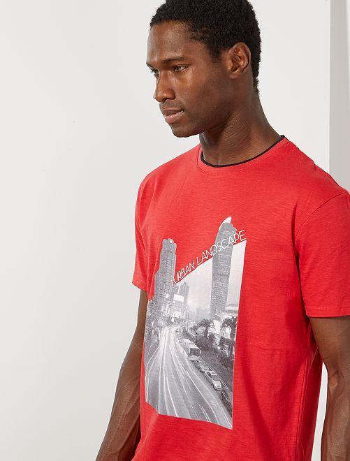 Camiseta con estampado de foto                                                                 ROJO