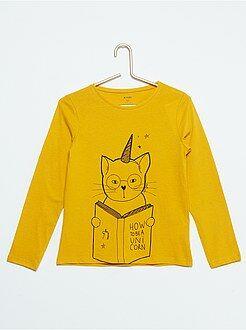 Niña 3-12 años Camiseta con estampado de 'gato unicornio'