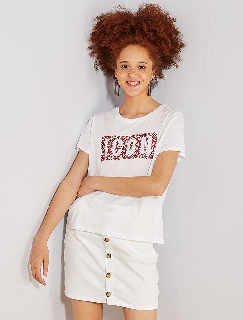 Camiseta con estampado de gel                             blanco nieve Mujer talla 34 a 48