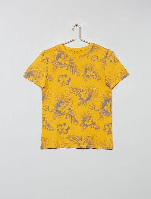 Camiseta con estampado de 'hojas'                                                     AMARILLO Joven niño