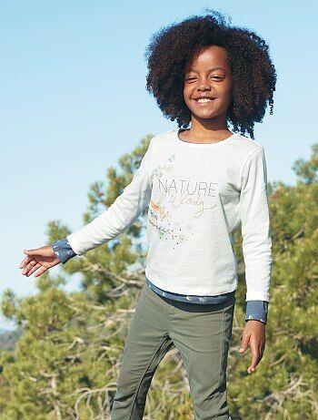 Camiseta con estampado de naturaleza                                 écru Chica